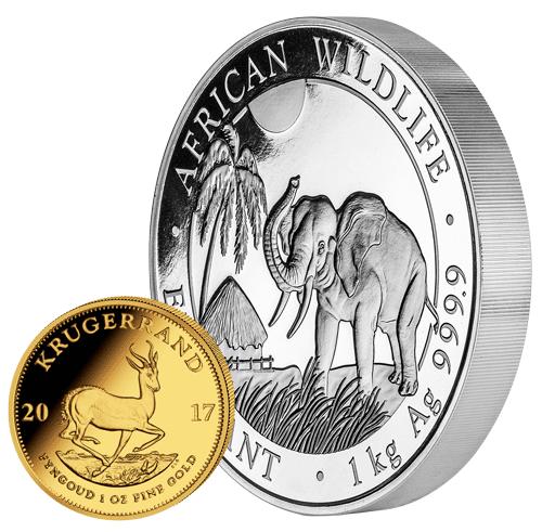 Krügerrand und Africn Wildlife Elefant